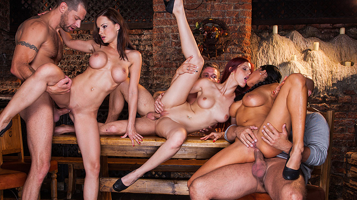Babes working end up in orgy